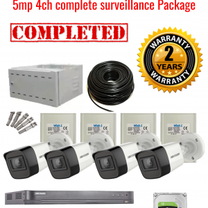 Hikvision CCTV 5MP Turbo HD Outdoor 4 Camera Surveillance Package (2 Years Warranty)