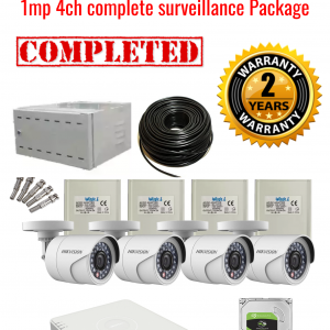 Hikvision CCTV 1MP Turbo HD Outdoor 4 Camera Surveillance Package (2 Years Warranty)
