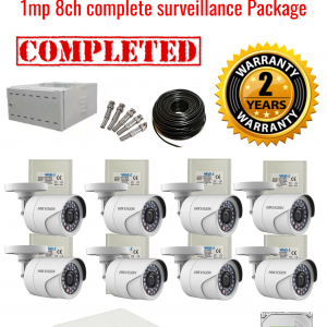 Hikvision CCTV 1MP Turbo HD Outdoor 8 Camera Surveillance Package (2 Years Warranty)